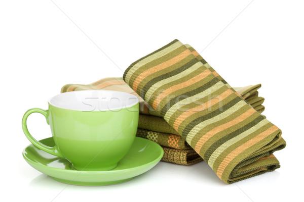ストックフォト: コーヒーカップ · キッチン · タオル · コーヒーカップ · 孤立した · 白