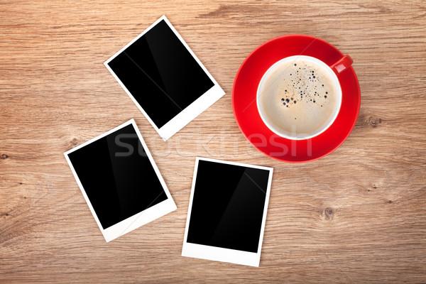 Stock fotó: Csésze · kávé · három · fotó · keret · fa · asztal