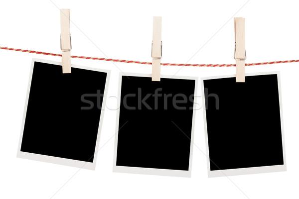 Foto's opknoping waslijn geïsoleerd witte ruimte Stockfoto © karandaev