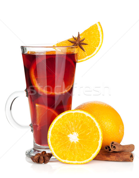 Christmas mulled wine with orange and spices Stock photo © karandaev