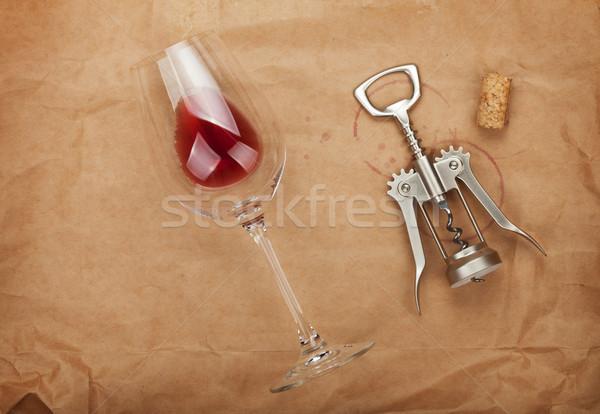 Wijnglas kurk rode wijn pakpapier Stockfoto © karandaev
