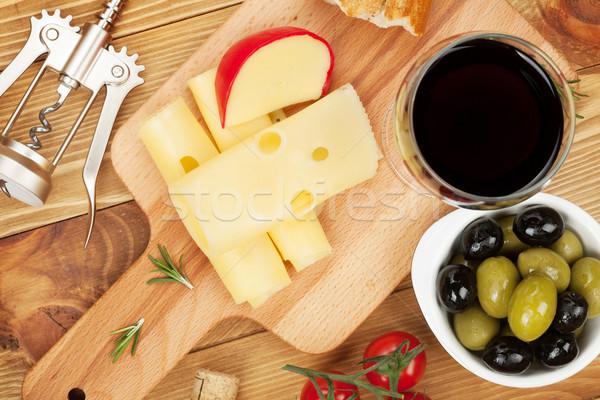 Stockfoto: Rode · wijn · kaas · olijven · brood · groenten · specerijen