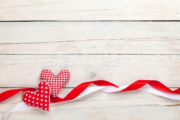Valentines day background with toy hearts and ribbons Stock photo © karandaev