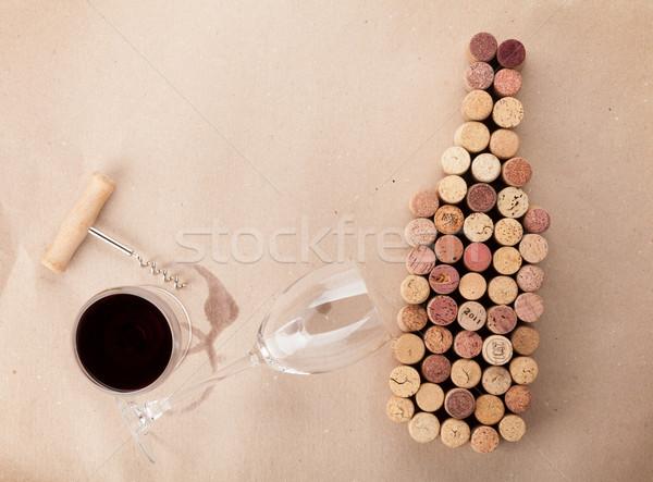 Garrafa de vinho vidro vinho cartão Foto stock © karandaev