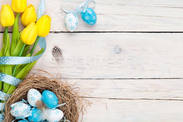 Foto d'archivio: Pasqua · blu · bianco · uova · nido · giallo
