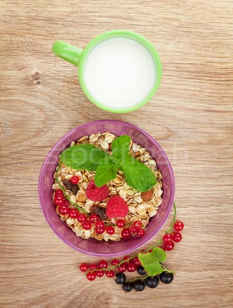 健康 朝食 ミューズリー ミルク 木製のテーブル ストックフォト © karandaev