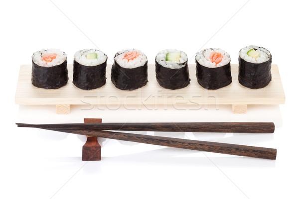 Sushi maki salmão pepino isolado branco Foto stock © karandaev