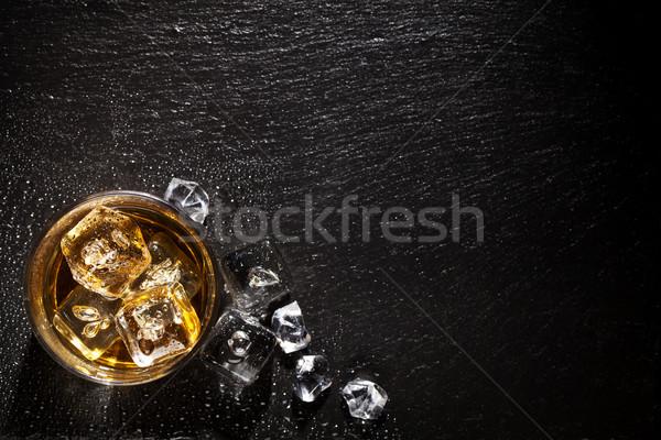 стекла виски льда черный каменные таблице Сток-фото © karandaev