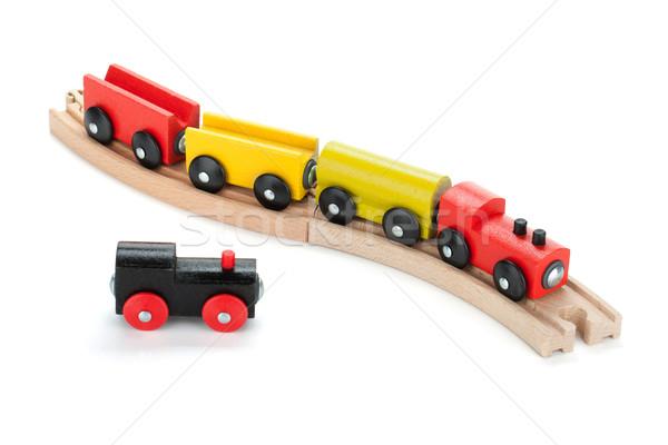 Brinquedo de madeira trens isolado branco bebê estrada Foto stock © karandaev