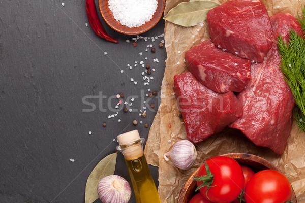 Nyers filé bifsztek fűszer kő tábla Stock fotó © karandaev