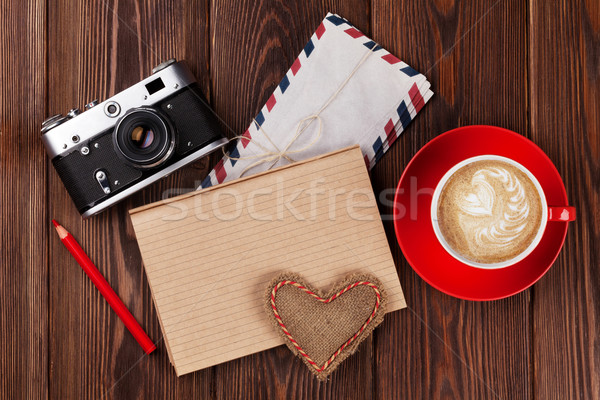 Valentines day toy heart and notepad for your text Stock photo © karandaev