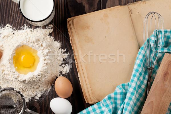 Klasszikus recept könyv kellékek hozzávalók főzés Stock fotó © karandaev