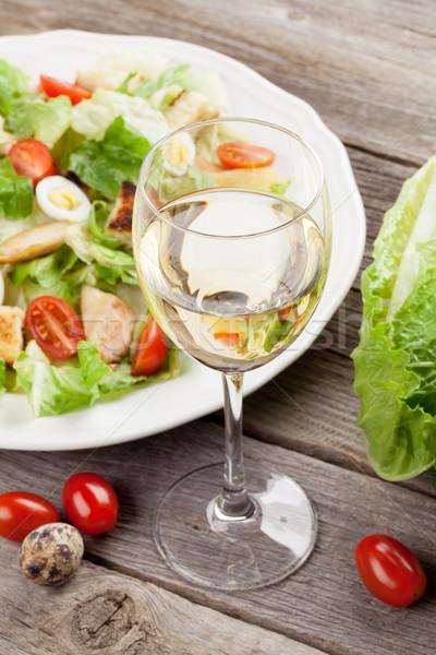 Fresh healthy salad and white wine Stock photo © karandaev