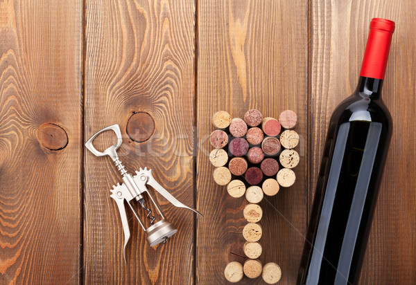 Vino tinto botella vidrio sacacorchos Foto stock © karandaev