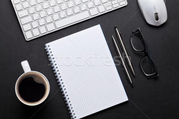 Foto stock: Oficina · cuero · escritorio · mesa · bloc · de · notas · pc