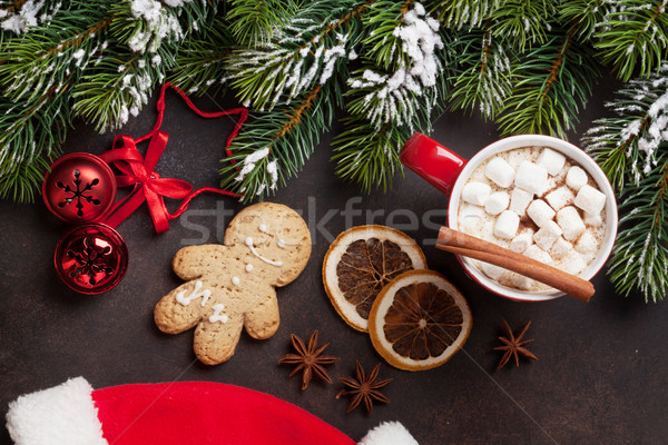 Kerstboom warme chocolademelk heemst christmas top Stockfoto © karandaev