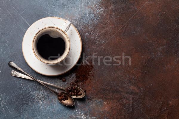 Xícara de café feijões terreno café topo Foto stock © karandaev