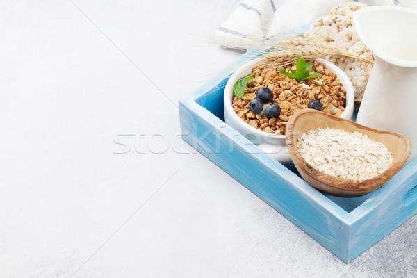 Saudável café da manhã muesli leite conjunto Foto stock © karandaev