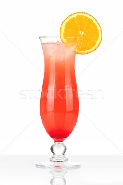 Czerwony koktajl lodu pomarańczowy pomarańczowy plasterka odizolowany Zdjęcia stock © karandaev