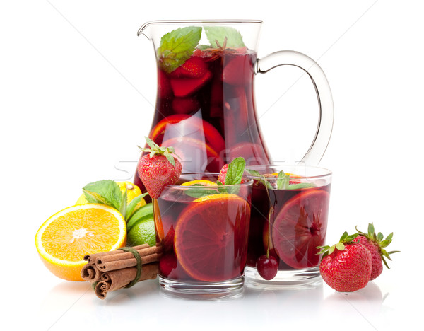Refreshing sangria (punch) and fruits Stock photo © karandaev