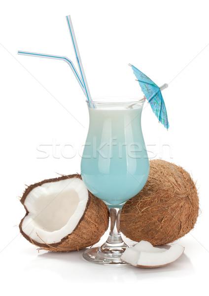 Kék Hawaii koktél kókuszdió izolált fehér Stock fotó © karandaev