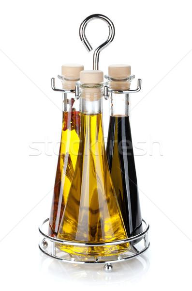 Establecer aceite de oliva vinagre botellas aislado blanco Foto stock © karandaev