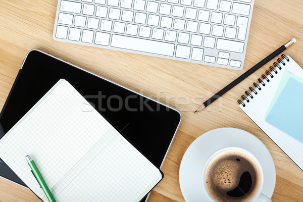 Photo stock: Tasse · de · café · table · en · bois · affaires · bureau