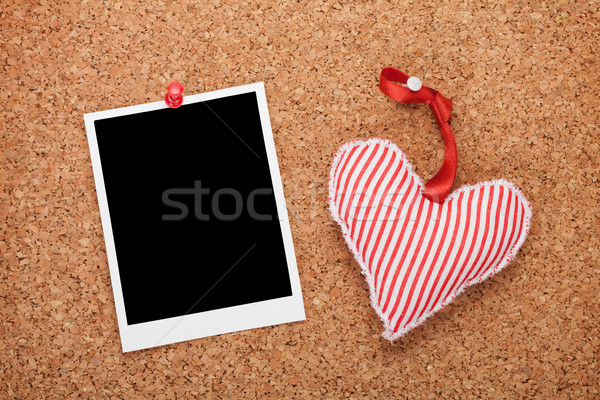 Blank instant photo and red heart Stock photo © karandaev