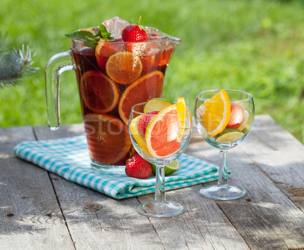 Refreshing fruit sangria (punch) Stock photo © karandaev