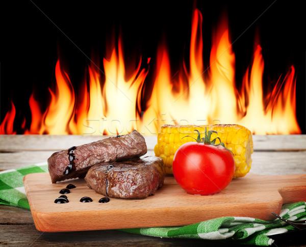 Steak with grilled vegetables Stock photo © karandaev