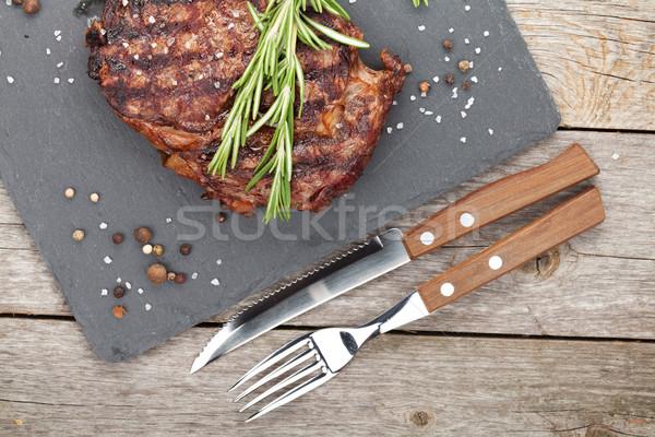 Marhahús rozmaring fűszer fa asztal fa asztal Stock fotó © karandaev