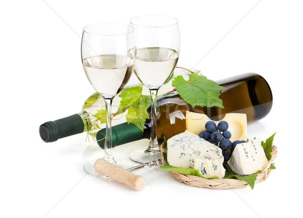 Witte wijn kaas druif geïsoleerd witte vruchten Stockfoto © karandaev