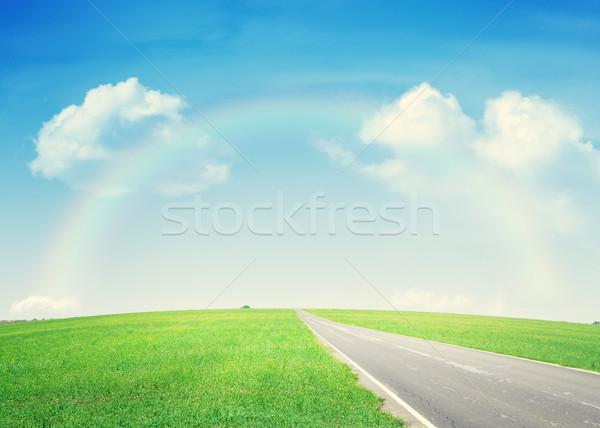 Asphalt road through the green field and rainbow Stock photo © karandaev