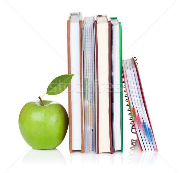 Foto d'archivio: Scuola · mela · isolato · bianco · carta