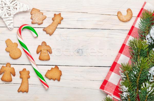 Stockfoto: Christmas · snoep · riet · peperkoek · cookies · sneeuw