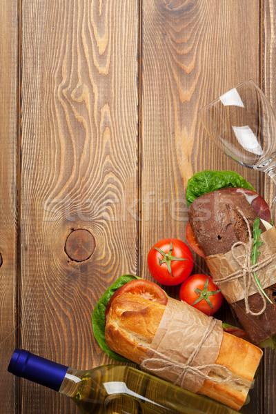 два Бутерброды белое вино деревянный стол Top мнение Сток-фото © karandaev