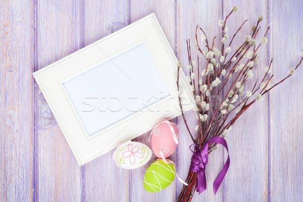 Tarjeta de felicitación cono sauce huevos de Pascua mesa de madera espacio de la copia Foto stock © karandaev