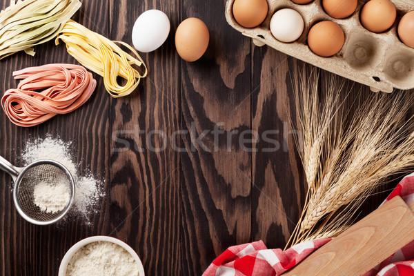 Сток-фото: домашний · пасты · приготовления · деревянный · стол · Top · мнение