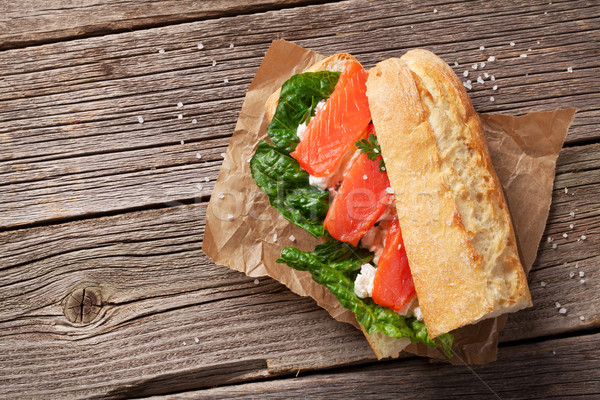 Sandwich with salmon and salad Stock photo © karandaev