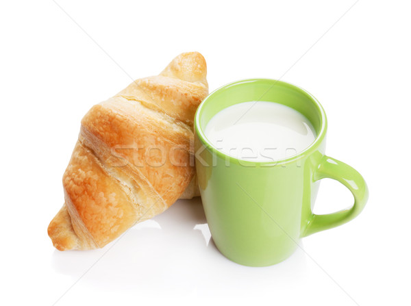 Vers croissants melk eigengemaakt geïsoleerd witte Stockfoto © karandaev