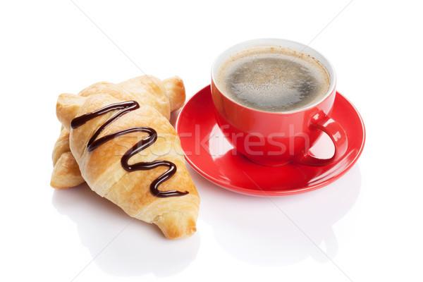 Friss croissantok kávé házi készítésű izolált fehér Stock fotó © karandaev