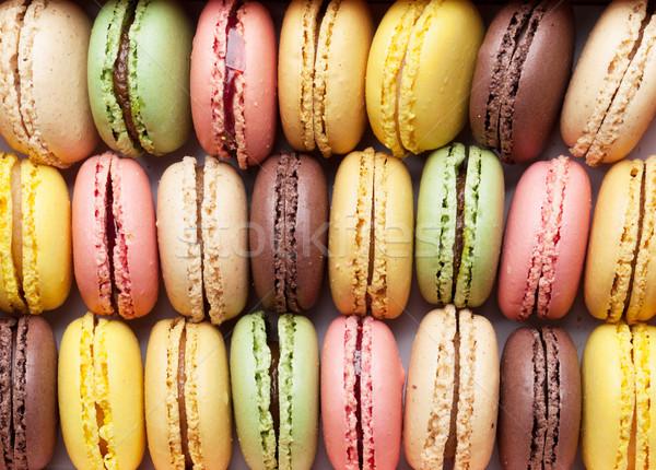 Coloré sweet macarons haut vue Photo stock © karandaev