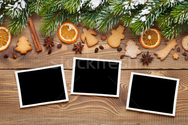 Christmas photo frames, tree, spices and cookies Stock photo © karandaev