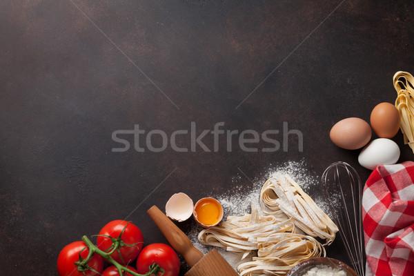 パスタ 料理 材料 台所用テーブル 先頭 表示 ストックフォト © karandaev