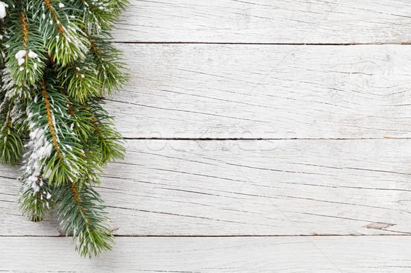 Karácsony fenyőfa hó fa asztal felső kilátás Stock fotó © karandaev