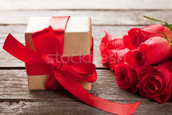 Walentynki szkatułce red roses kwiaty tekstury Zdjęcia stock © karandaev