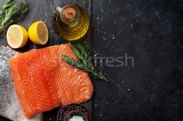 Surowy łososia ryb filet przyprawy gotowania Zdjęcia stock © karandaev