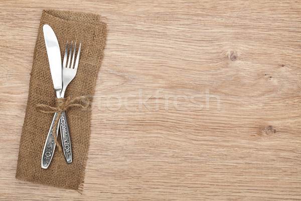 Argenterie fourche couteau table en bois alimentaire Photo stock © karandaev