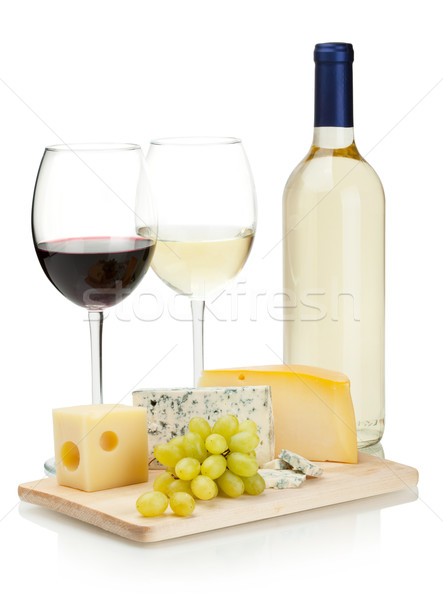 Photo stock: Vin · fromages · raisins · blanche · alimentaire · table