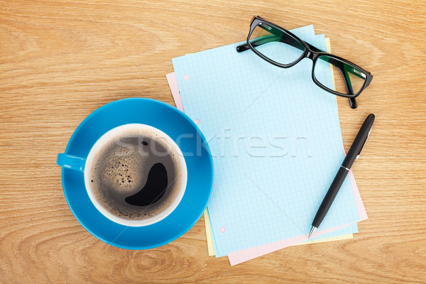 Blank lined paper with coffee, office supplies and glasses Stock photo © karandaev